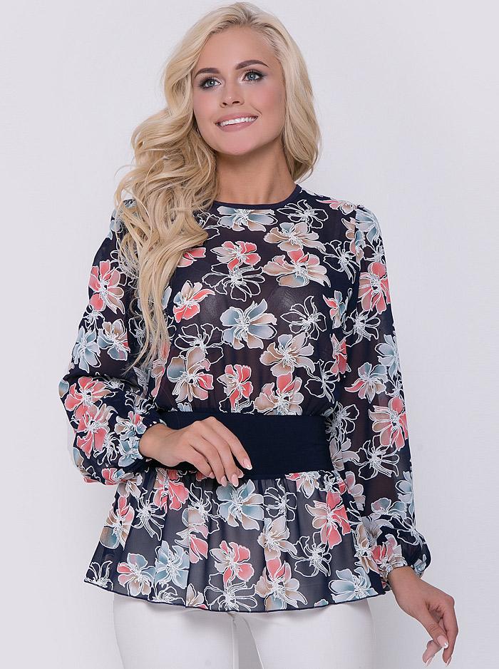 788632b4385 Интернет-магазин Эгерия → Женская одежда → Блузы → Повседневные блузки → Блуза  Кармен цветы коралл Elza