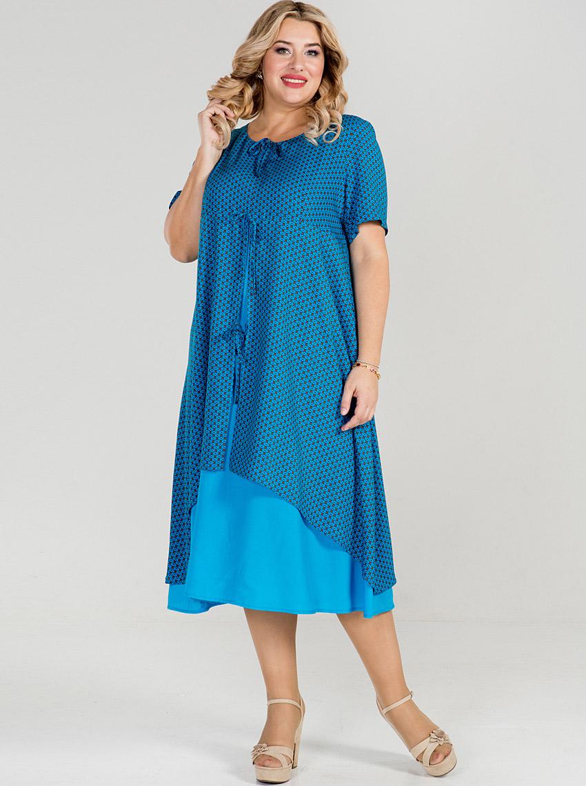 420f93110112d4a Интернет-магазин Эгерия → Женская одежда → Платья → Летние платья → Платье  869 Синий Luxury Plus