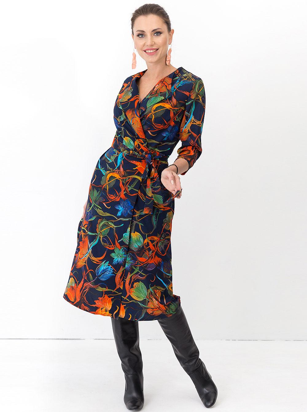 Купить Платье П1243-1 Taiga , цвет: Синий с доставкой в интернет-магазине Эгерия